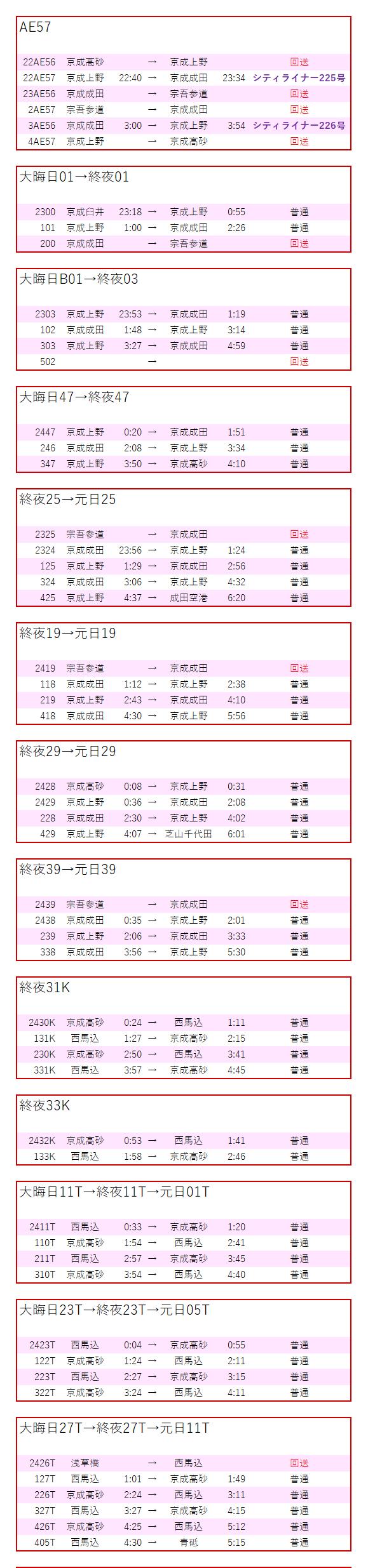運用 表 京成 北総車運用表:2019年10月修正・平日